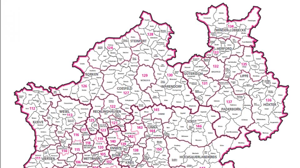 Nordrhein Westfalen Karte.Wahlkreiskarten In Nordrhein Westfalen Im